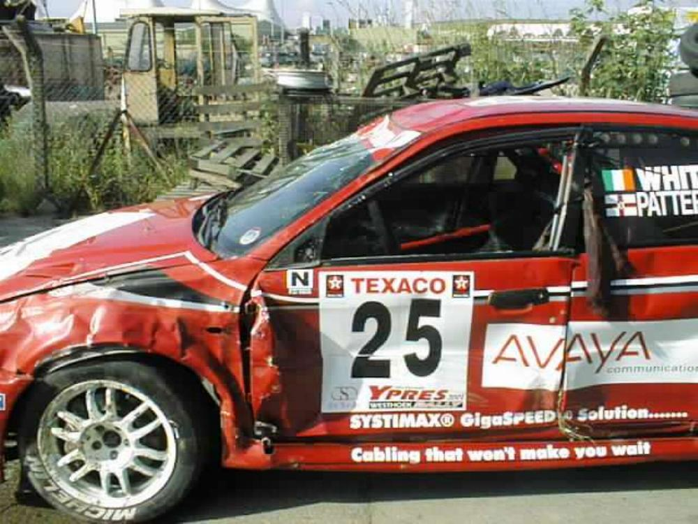 Roy White Evo 6 after Ypre accident 2