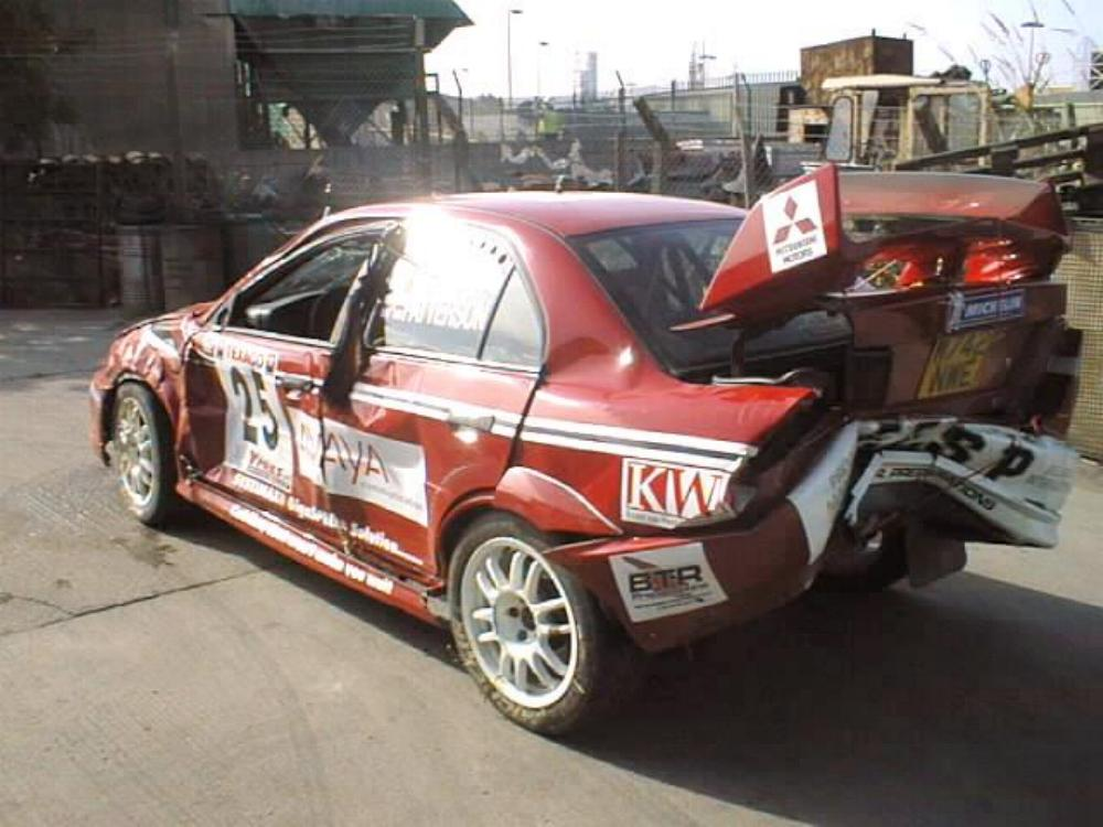 Roy White Evo 6 after Ypre accident 1